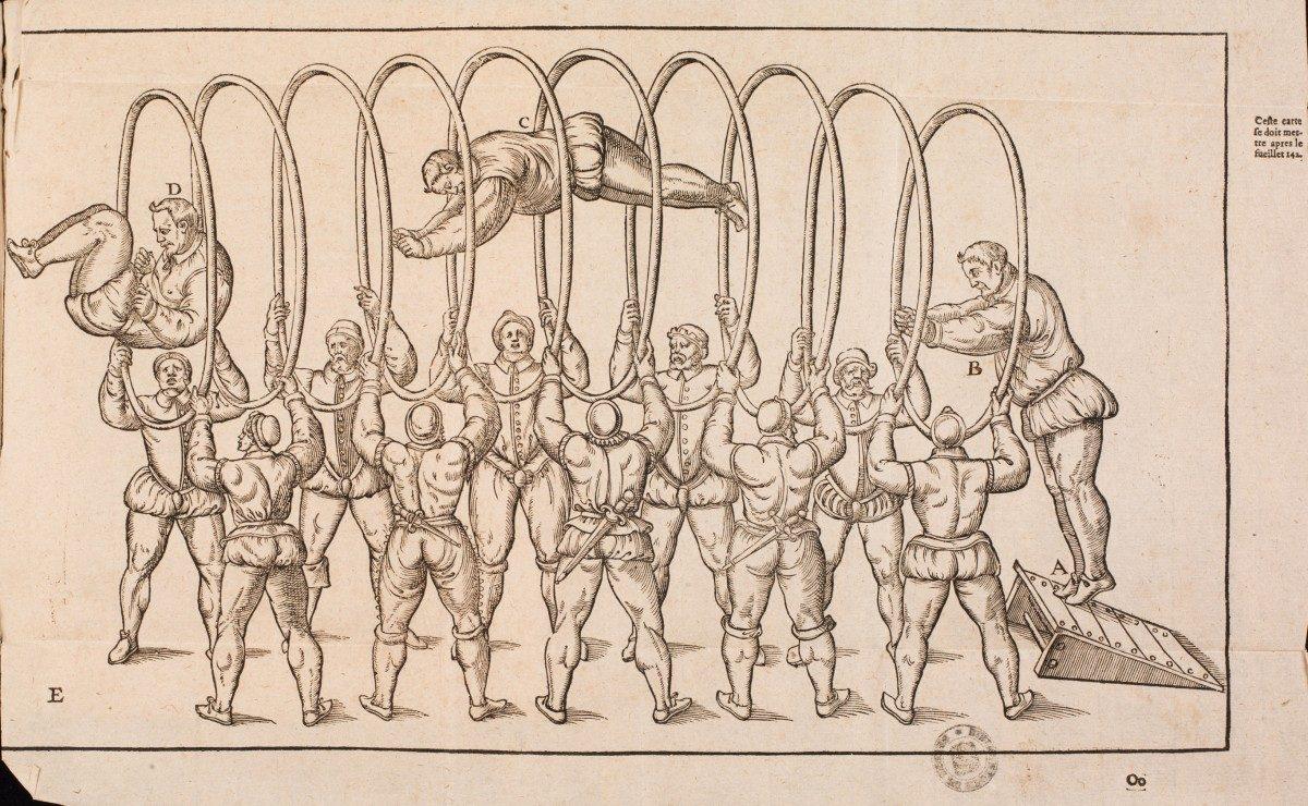 Trois dialogues de l'exercice de sauter et voltiger dans l'air. Archangelo Tuccaro. Paris, 1599. S-10-2378. Médiathèque du Grand Troyes. Photo E. Bord